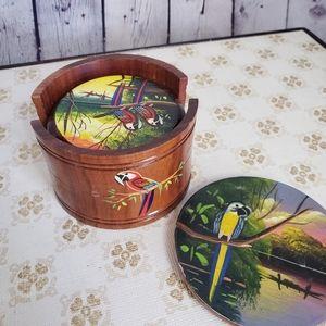 Vintage Wood Coaster Set Parrots Birds Boho 70s